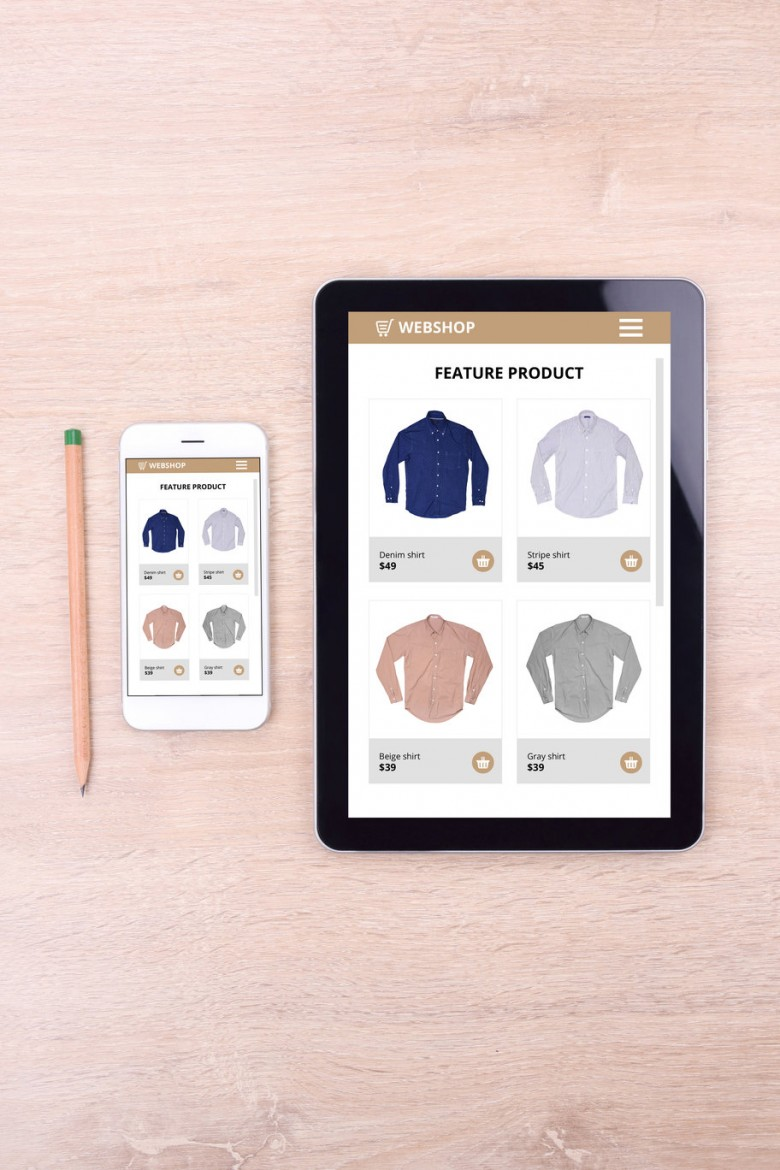 Smartphone and tablet with ecommerce website screen