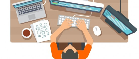 Software programmer typing code or debugging