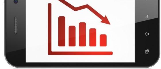 News concept: Decline Graph on smartphone