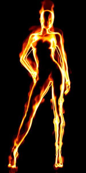 Female fiery human torch silhouette.
