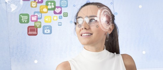 Woman with smart glasses